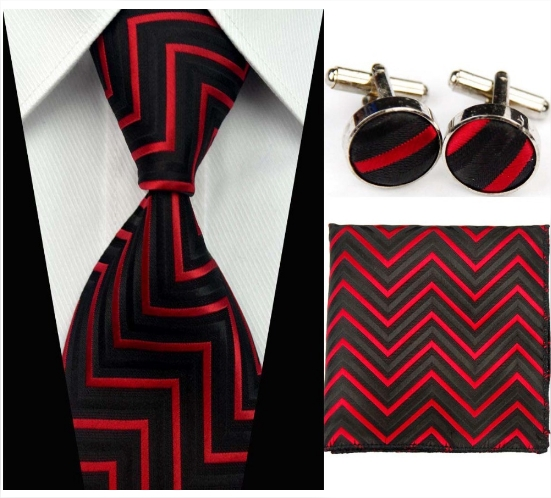 304dc1bae982b Cravate rouge et noire avec mouchoir et boutonnière - Boutique ...